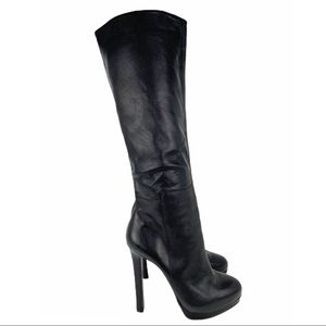 Steve Madden 'Runwayy' Black Leather Heeled Boots